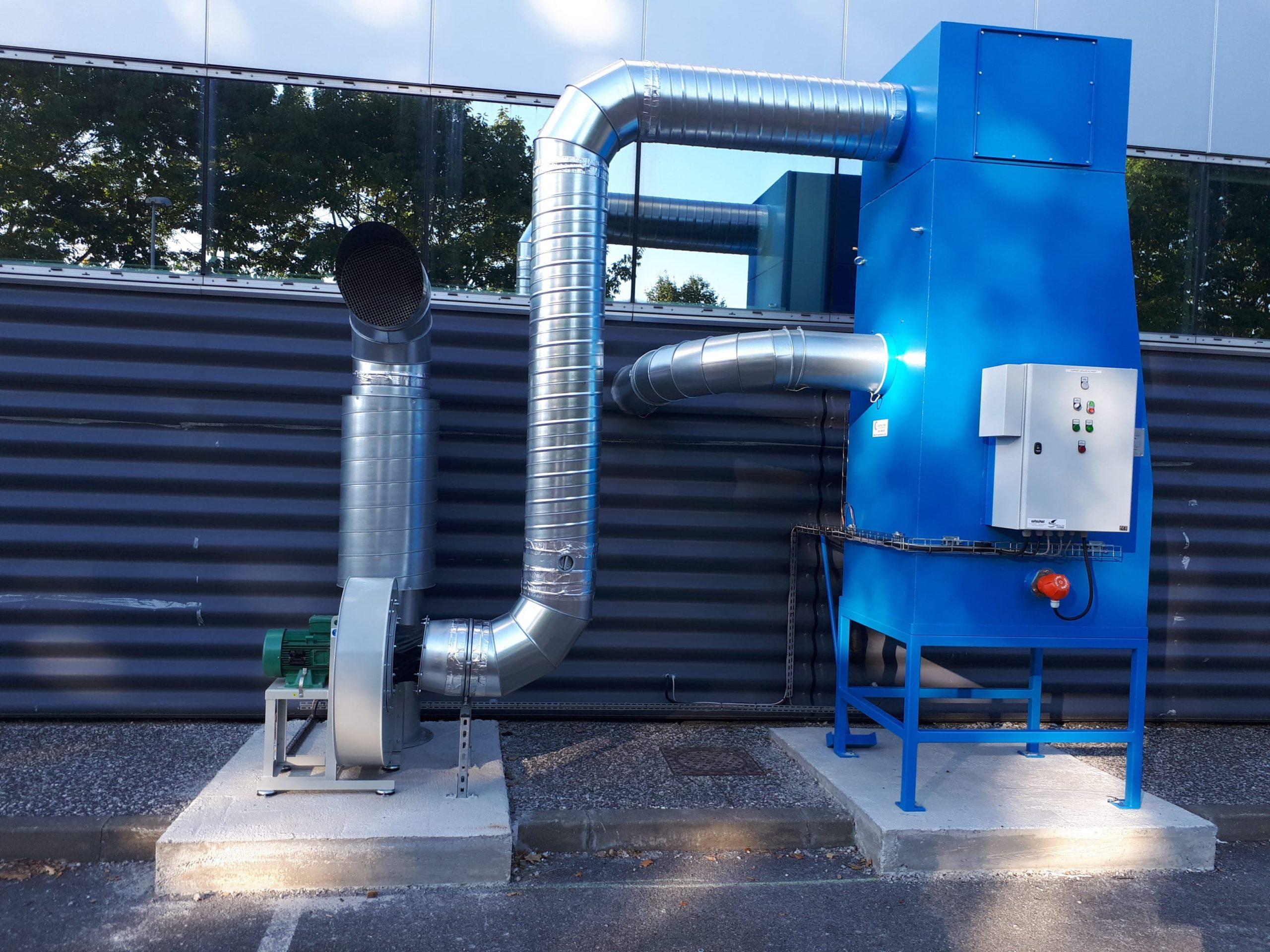 Filtre humide avec ventilateur Atex dans atelier aéronautique