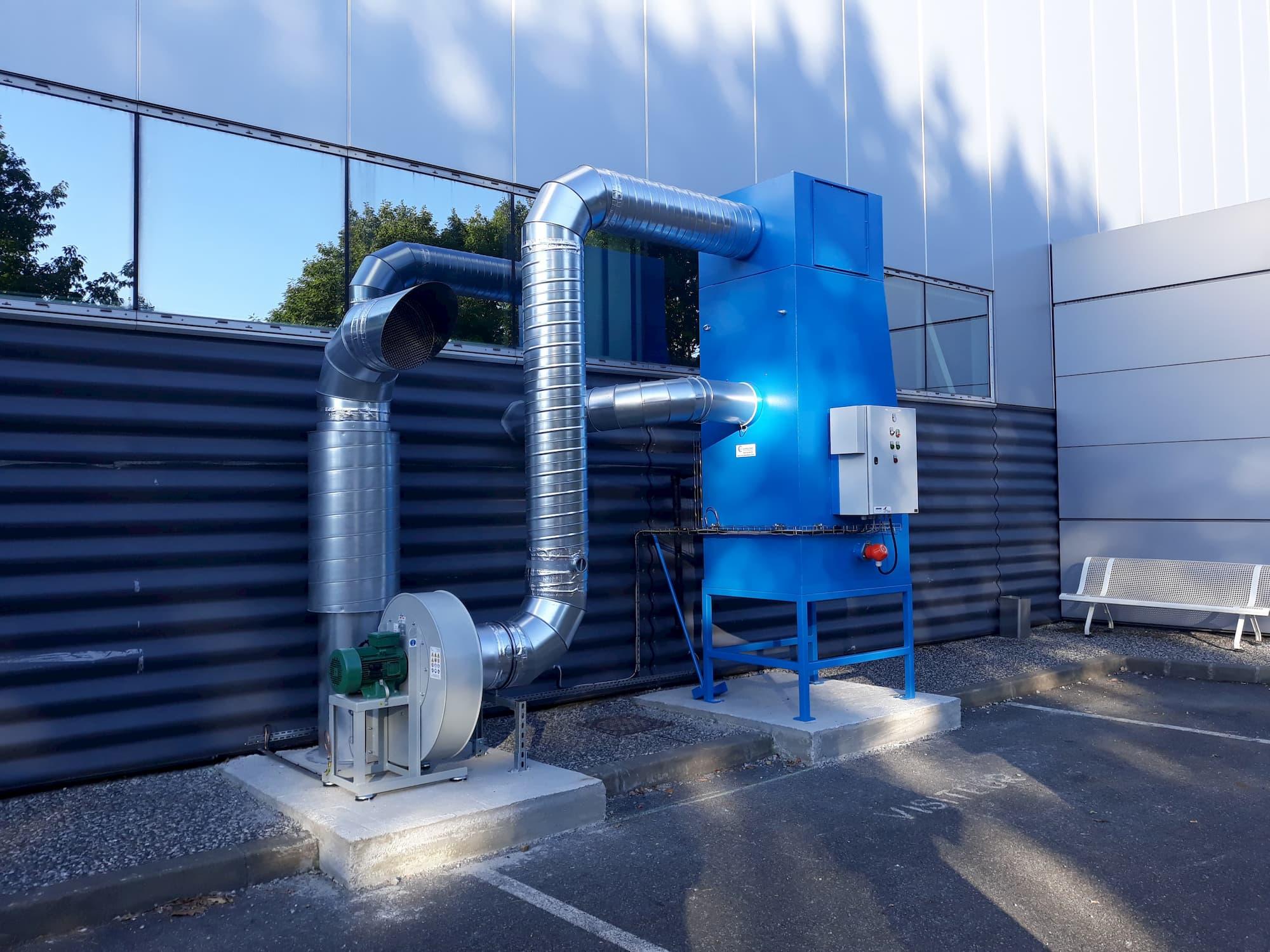 Dépoussiéreur à voie humide, à eau, MH-Aspirations, couleur bleu. Pour aspiration poussières titane, aluminium, acier.